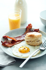 Basic Breakfast Egg Bacon Biscuit with Orange Juice
