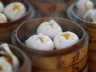 close up of steaming custard dumplings in China