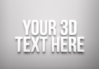 Minimal White 3D Text Effect Style Mockup