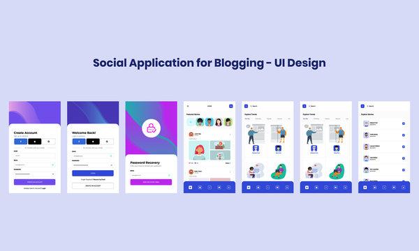 Social Application for Blogging - UI Design