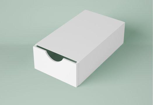 3D Illustration. Mockup of rectangular package. Sliding box opened.
