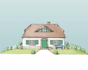 Hübsches friesisches Haus mit Reedach