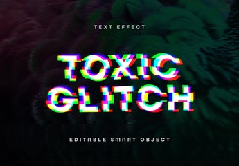 Digital Distorted Glitch Text Effect Mockup