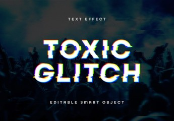 Pixelated Color Distorted Glitch Text Effect Mockup