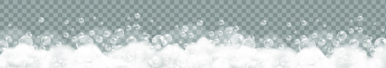 Bath foam isolated on transparent background. Shampoo bubbles texture.Sparkling shampoo and bath lather vector illustration