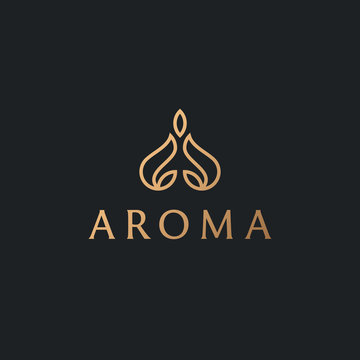 Abstract aroma candle logo for store or salon. Yoga meditation logo with natural leaves. Luxury indian turban, guru, lotus pose, balance, harmony icon.