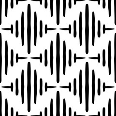 Black striped rhombuses isolated on white background. Seamless pattern. Hand drawn vector graphic illustration. Texture.