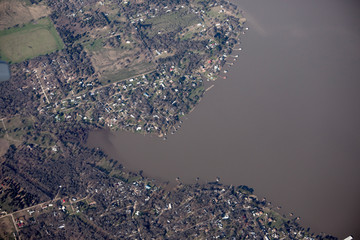Aerial view of Cedar Creek Reservoir and lake near Dallas, Texas.