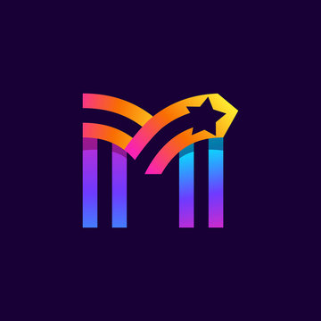 Letter M logo with star inside. Vector parallel lines icon.