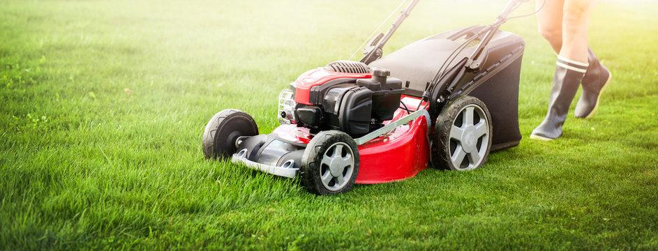 Lawn mover on green grass in modern garden.