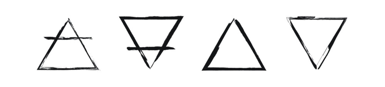 The glyphs of the four basic elements. Set of the Alchemical symbols. Black ink handwriting. Vector