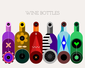 A row of six different colored wine bottles on a light background, decorative modern design, vector illustration.