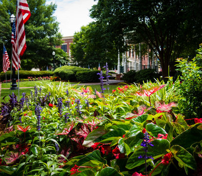 Flower bed and pavillon at Marietta Square in Georgia decorated for Independence Day