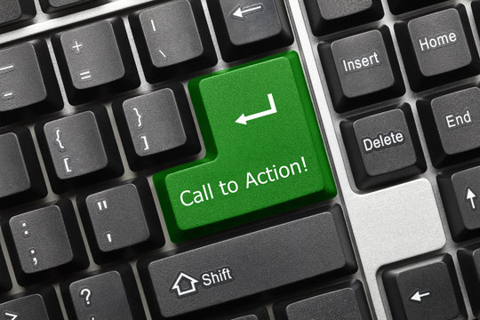 Conceptual keyboard - Call to Action (green key)