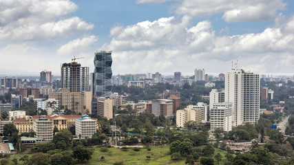 High angle view of the Kilimani district of Nairobi, Kenya.