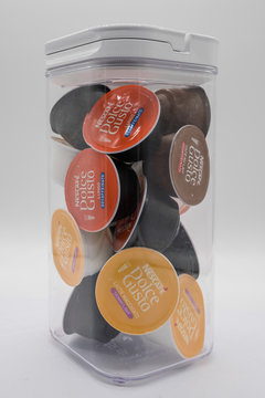 Irvine, Scotland, UK - June 22, 2020: Nescafe Dolce Gusto coffe pods in recyclable cardboard and plastic packaging displaying relevant symbols