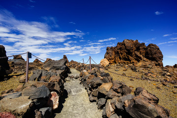 hiking trail to the top of Teide Tenerife volcano, Canary Islands, Spain