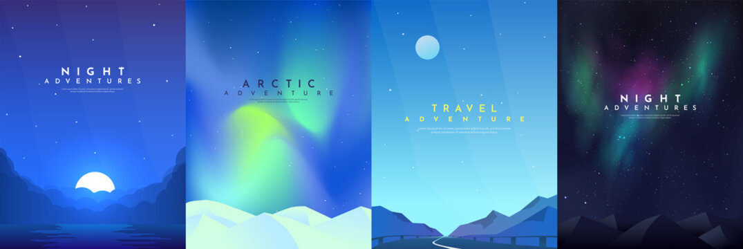 Vector abstract background set. Minimalist style. Flat concept. 4 landscapes collection. Clouds by the water, road between mountains, aurora in the Arctic, night boreal. Cover template. UI design.
