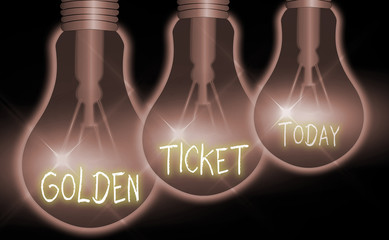 Handwriting text Golden Ticket. Conceptual photo Rain Check Access VIP Passport Box Office Seat Event