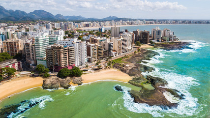 Photo sur Toile Brésil Guarapari - ES. Aerial view of the city of Guarapari and its beaches, in Espírito Santo, Brazil