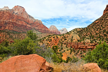 Fototapete - Red mountain landscape of Zion National Park, Utah, USA