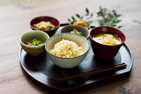 玄米ご飯と和食
