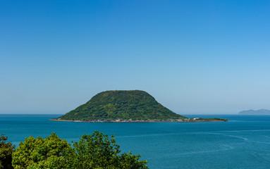 view of Takashima island from Karatsu castle, Karatsu city, Japan