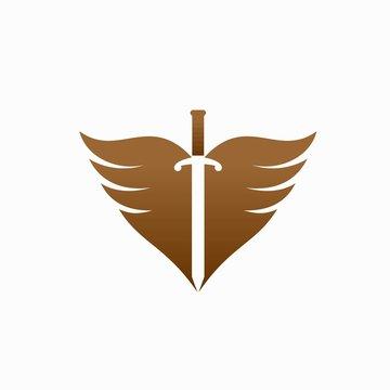 sword logo design, warrior vector logo