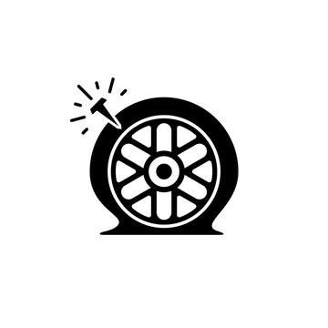 Car flat tire vector icon.