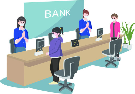 Social distancing in bank service illustration
