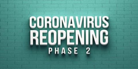 Covid-19 Coronavirus Reopening Phase 2 banner. 3D rendering illustration