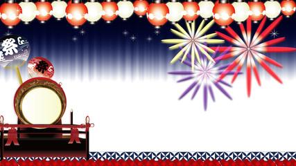 花火と夏祭り大太鼓に紅白の輝く提灯と祭りのうちわのイラストワイドサイズ横スタイル背景素材