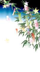 七夕飾り笹の葉にキラキラした大きいあみ飾りのイラストワイドサイス縦スタイルバーチャル背景素材