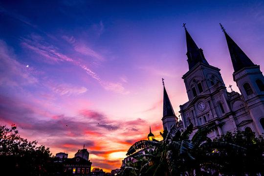 Sunset Saint Louis Cathedral Cabildo New Orleans Louisiana