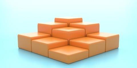 Display platforms blocks set empty, orange on blue background. 3d illustration