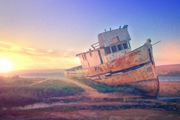 Photo sur cadre textile Naufrage Ship Wreck On Sandy Shore