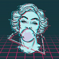 Vector hand drawn illustration of woman blowing bubble gum. Digital glitch effect, vaporwave style.