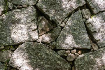 "japanese castle stone wall burdock piling ""ishigaki"", Karatsu castle, Japan, background texture"
