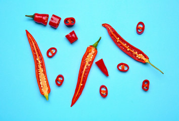 Fotobehang Hot chili peppers Hot chili pepper on color background