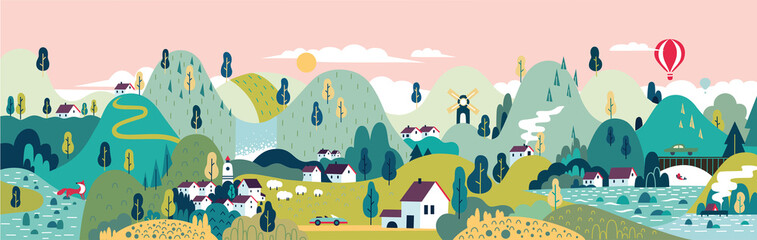 Village. Small town. Rural and urban landscape. Wall mural