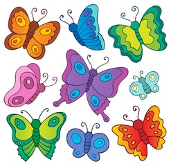 Poster Enfants Various butterflies theme set 1