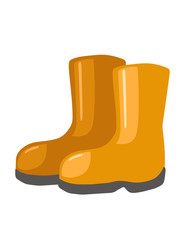 Pair of orange gardening rubber boots protection equipment flat vector illustration isolated on white background