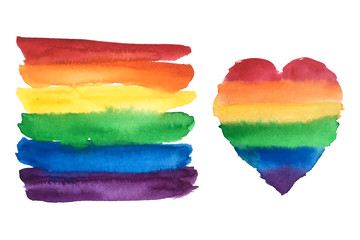 Gay pride rainbow flag and heart. LGBT community symbol watercolor illustration