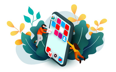 Modern banner template with tiny people and giant smartphone. mobile app design. User interface development concept. Small people building applications.