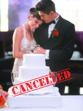 Cancelled wedding celebration events due to Coronavirus outbreak. Ceremony and reception postponed dye to Covid-19 epidemic. Cancelled stamp text.