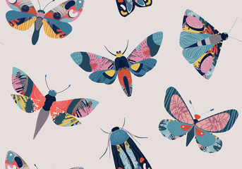 Vector seamless pattern with colorful insects butterfly, moth and hand drawn abstract texture.