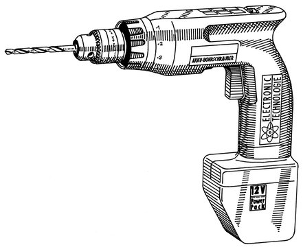 3d rendering of a electric screwdriver isolated in a white background