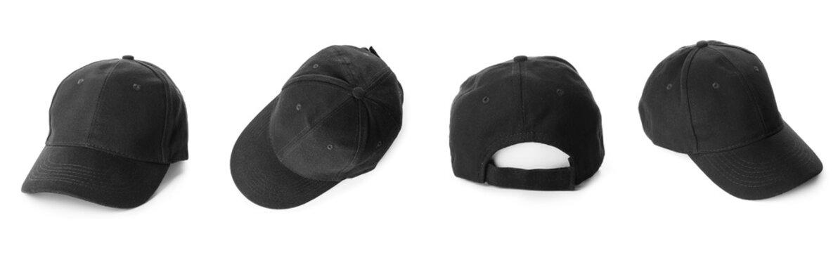 Set of stylish caps on white background