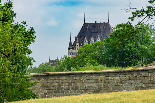 Castle of Frontenac from the plaines d'Abraham, which's overlooks the whole city of Quebec City, Canada