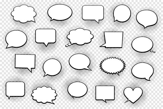 Empty white speech bubbles with halftone shadows on transparent background